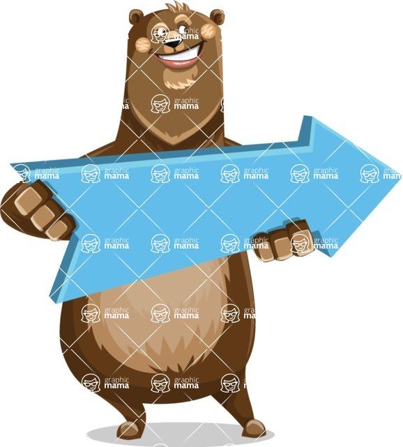 Bear Cartoon Vector Character AKA Barry Bearhug - Pointer 2