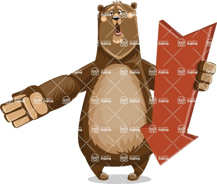 Bear Cartoon Vector Character AKA Barry Bearhug - Pointer 3