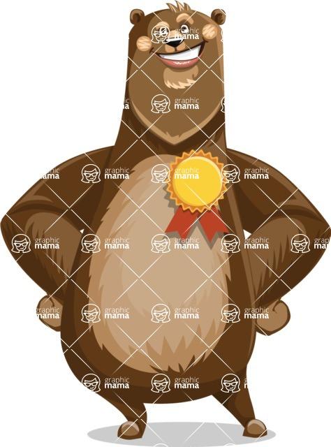 Bear Cartoon Vector Character AKA Barry Bearhug - Ribbon