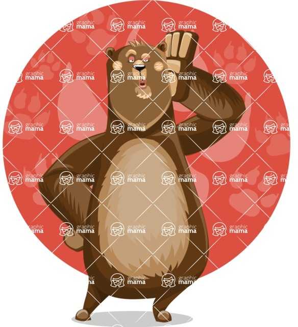 Bear Cartoon Vector Character AKA Barry Bearhug - Shape 11