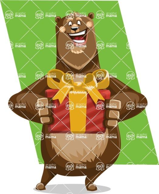 Bear Cartoon Vector Character AKA Barry Bearhug - Shape 12