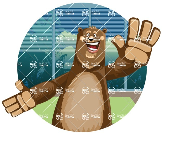 Bear Cartoon Vector Character AKA Barry Bearhug - Shape 2