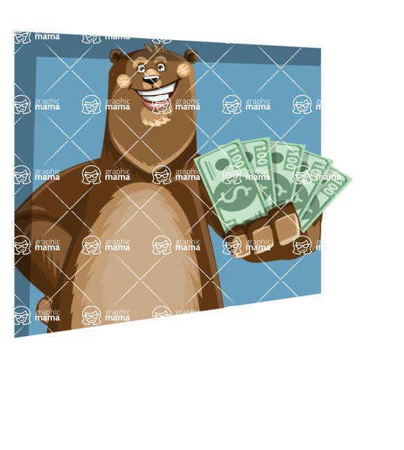 Bear Cartoon Vector Character AKA Barry Bearhug - Shape 3