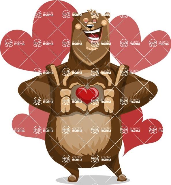 Bear Cartoon Vector Character AKA Barry Bearhug - Shape 5