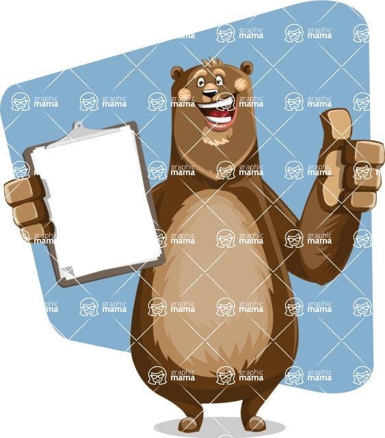 Bear Cartoon Vector Character AKA Barry Bearhug - Shape 6