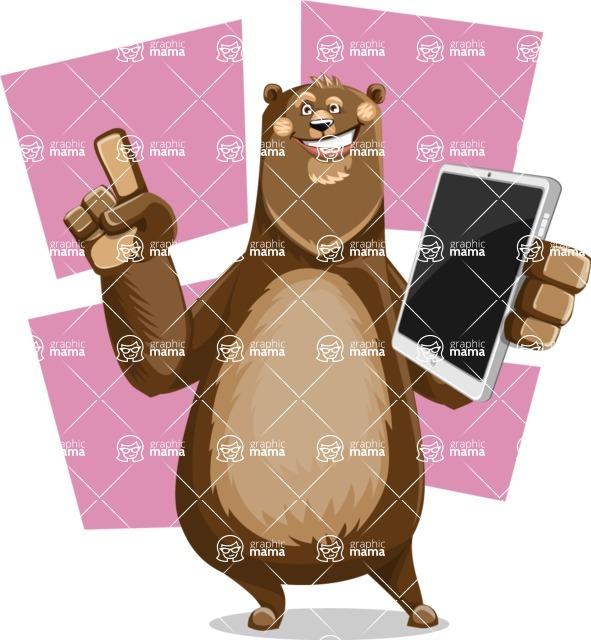 Bear Cartoon Vector Character AKA Barry Bearhug - Shape 8