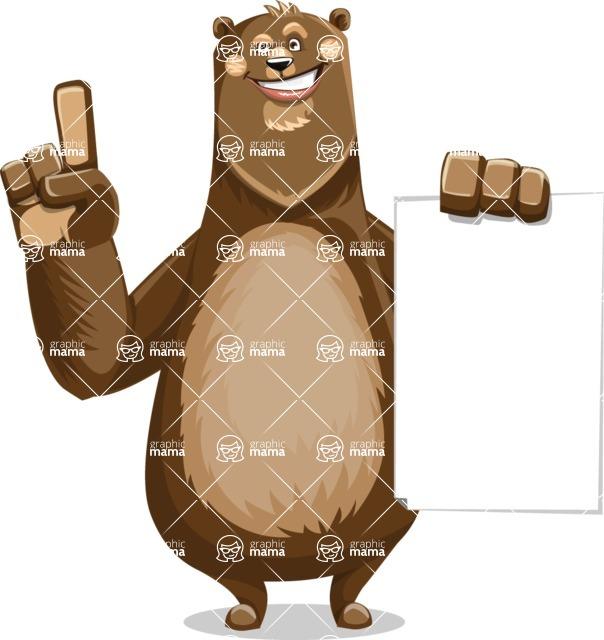 Bear Cartoon Vector Character AKA Barry Bearhug - Sign 2