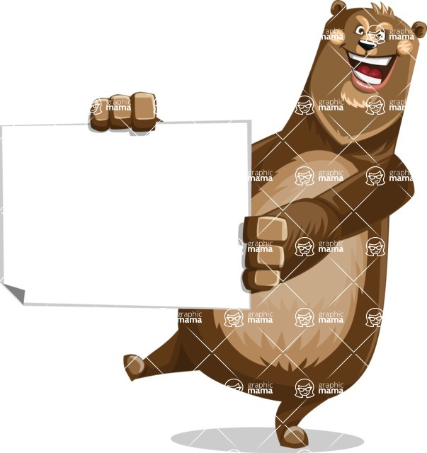 Bear Cartoon Vector Character AKA Barry Bearhug - Sign 4