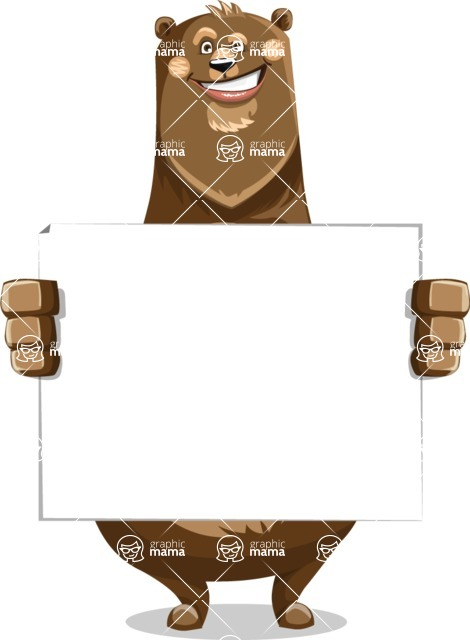Bear Cartoon Vector Character AKA Barry Bearhug - Sign 5