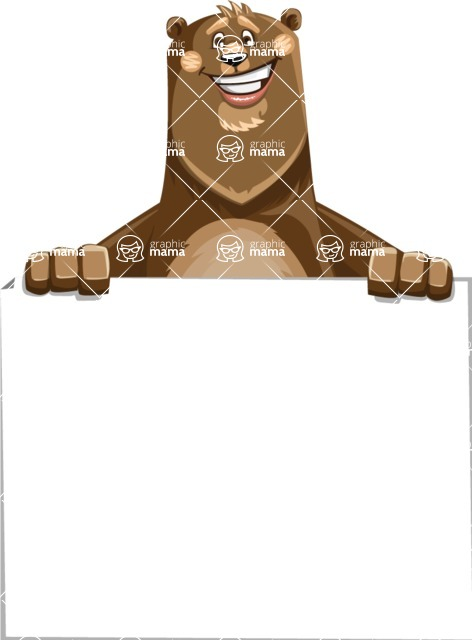 Bear Cartoon Vector Character AKA Barry Bearhug - Sign 6