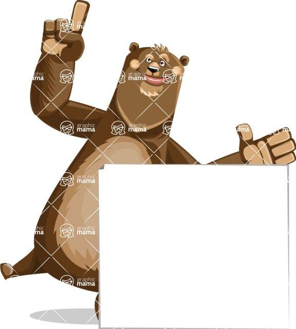 Bear Cartoon Vector Character AKA Barry Bearhug - Sign 7