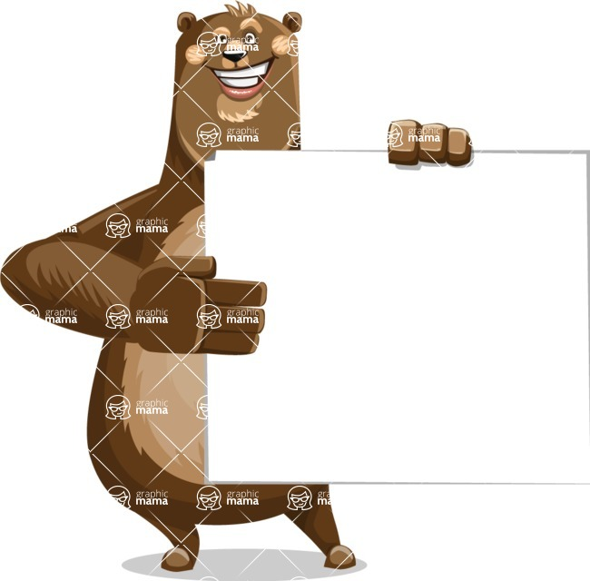 Bear Cartoon Vector Character AKA Barry Bearhug - Sign 8