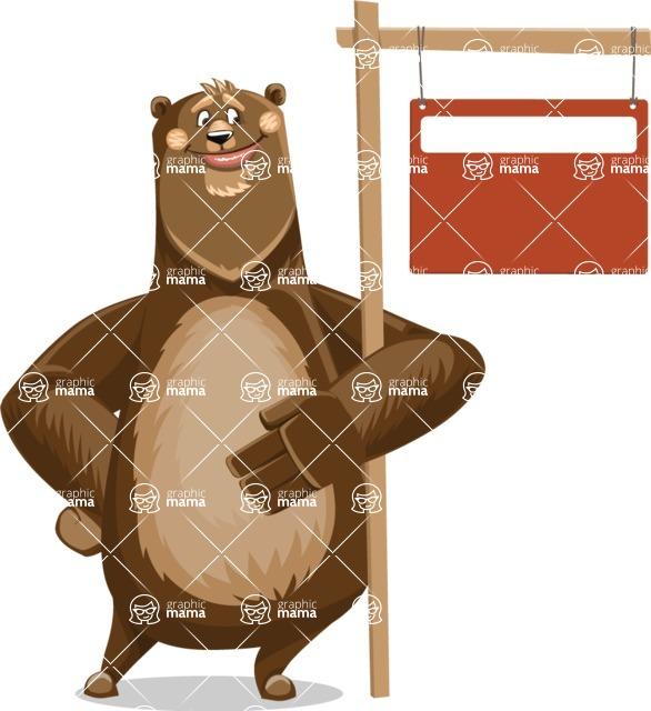 Bear Cartoon Vector Character AKA Barry Bearhug - Sign 9