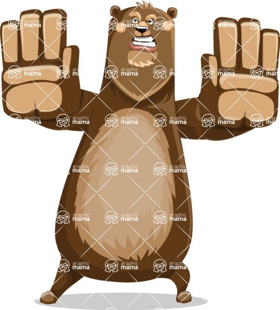 Bear Cartoon Vector Character AKA Barry Bearhug - Stop