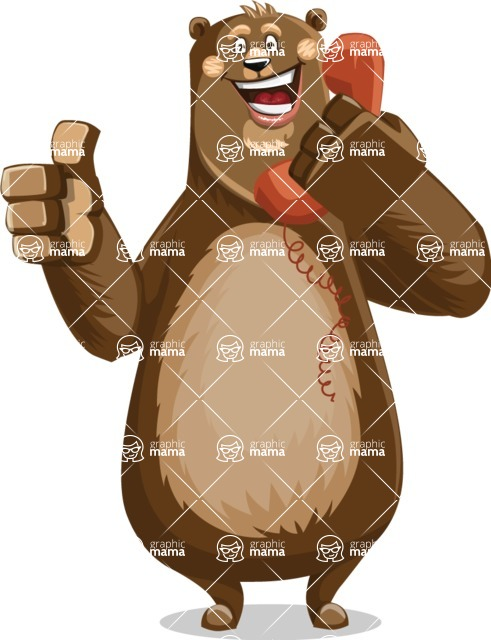 Bear Cartoon Vector Character AKA Barry Bearhug - Support