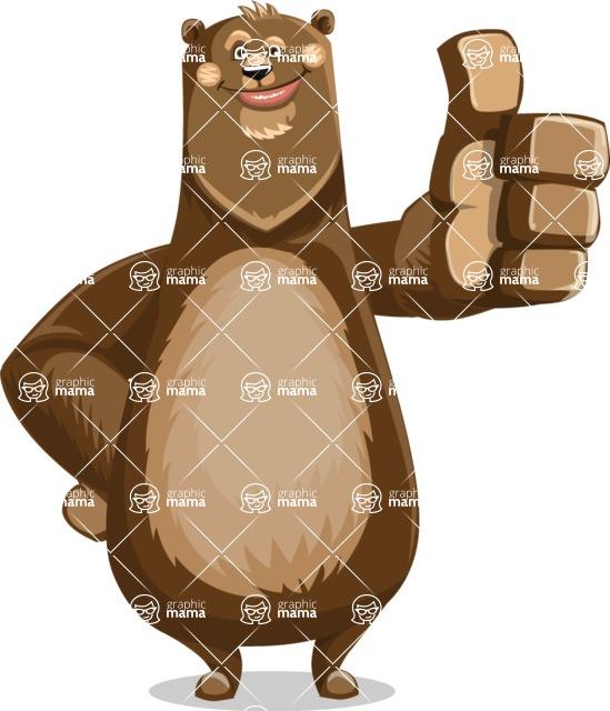 Bear Cartoon Vector Character AKA Barry Bearhug - Thumbs Up