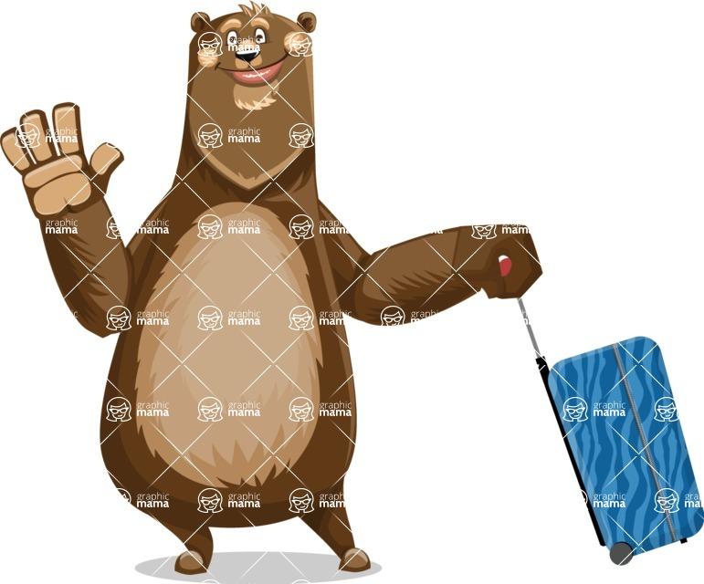 Bear Cartoon Vector Character AKA Barry Bearhug - Travel 1