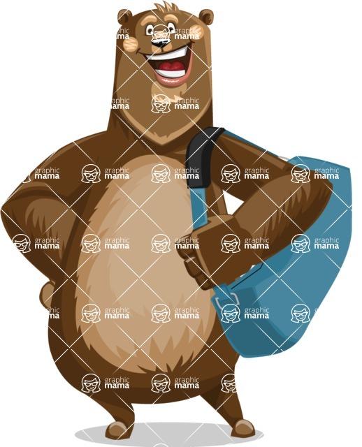 Bear Cartoon Vector Character AKA Barry Bearhug - Travel 2