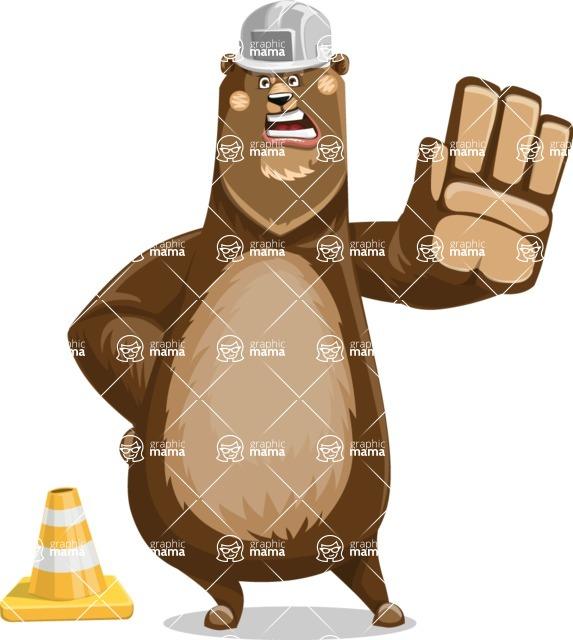 Bear Cartoon Vector Character AKA Barry Bearhug - Under Construction 1