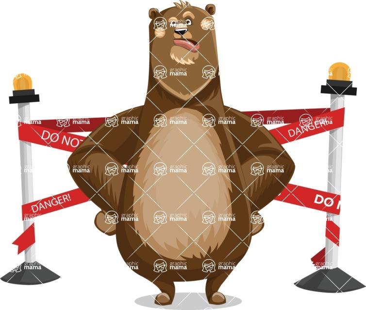 Bear Cartoon Vector Character AKA Barry Bearhug - Under Construction 2