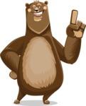 Bear Cartoon Vector Character AKA Barry Bearhug - Attention