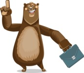 Bear Cartoon Vector Character AKA Barry Bearhug - Briefcase 2