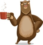 Bear Cartoon Vector Character AKA Barry Bearhug - Coffee