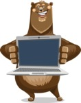 Bear Cartoon Vector Character AKA Barry Bearhug - Laptop 2