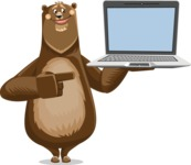 Bear Cartoon Vector Character AKA Barry Bearhug - Laptop 3