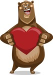 Bear Cartoon Vector Character AKA Barry Bearhug - Inloved Animal Valentine's Day Bear Cartoon Character
