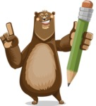 Bear Cartoon Vector Character AKA Barry Bearhug - Pencil
