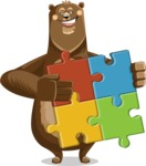 Bear Cartoon Vector Character AKA Barry Bearhug - Puzzle