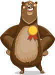 Bear Cartoon Vector Character AKA Barry Bearhug - Ribbon