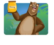 Bear Cartoon Vector Character AKA Barry Bearhug - Shape 1