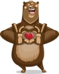 Bear Cartoon Vector Character AKA Barry Bearhug - Bear Animal with Heart Cartoon Character