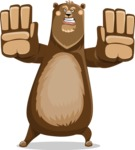 Bear Cartoon Vector Character AKA Barry Bearhug - Stop
