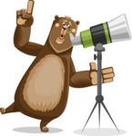 Bear Cartoon Vector Character AKA Barry Bearhug - Telescope