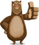 Bear Cartoon Vector Character AKA Barry Bearhug - Thumbs Up
