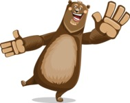 Bear Cartoon Vector Character AKA Barry Bearhug - Wave