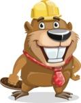 Beaver Cartoon Vector Character AKA Bent the Beaver - Normal