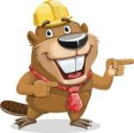 Beaver Cartoon Vector Character AKA Bent the Beaver - Point 2
