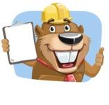 Beaver Cartoon Vector Character AKA Bent the Beaver - Shape 2