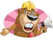 Beaver Cartoon Vector Character AKA Bent the Beaver - Shape 3