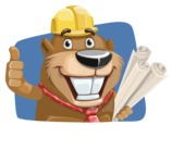 Beaver Cartoon Vector Character AKA Bent the Beaver - Shape 4