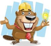 Beaver Cartoon Vector Character AKA Bent the Beaver - Shape 7