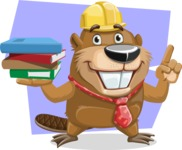 Beaver Cartoon Vector Character AKA Bent the Beaver - Shape 8