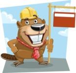 Beaver Cartoon Vector Character AKA Bent the Beaver - Shape 9