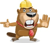 Beaver Cartoon Vector Character AKA Bent the Beaver - Direct Attention