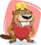 Beaver Cartoon Vector Character AKA Bent the Beaver - Shape 10
