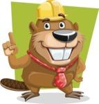 Beaver Cartoon Vector Character AKA Bent the Beaver - Shape 11